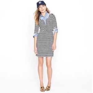 J. Crew Zip Front T Shirt Dress striped oversized